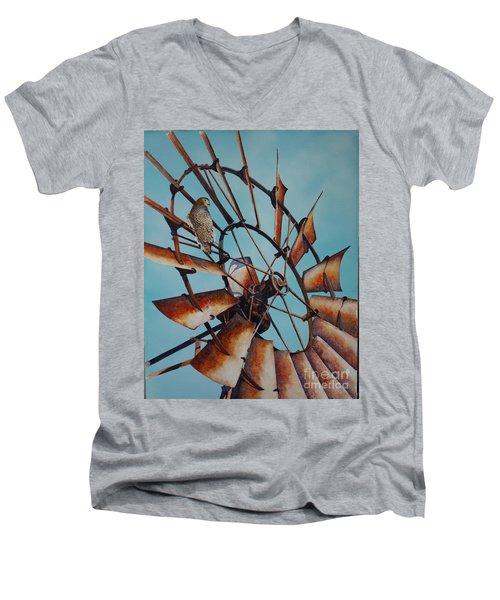 Windmill And Hawk Men's V-Neck T-Shirt