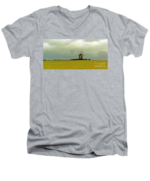 Windmill And Rapeseed And Storm Men's V-Neck T-Shirt