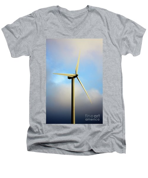 Windmill Dark Blue Sky Men's V-Neck T-Shirt