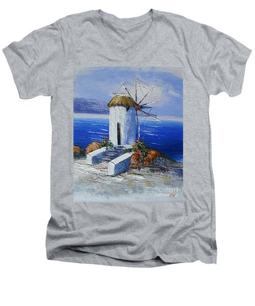 Windmill In Greece Men's V-Neck T-Shirt