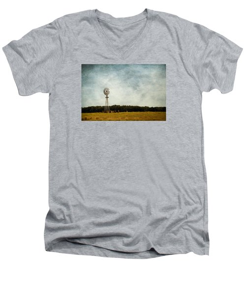Windmill On The Farm Men's V-Neck T-Shirt by Beverly Stapleton