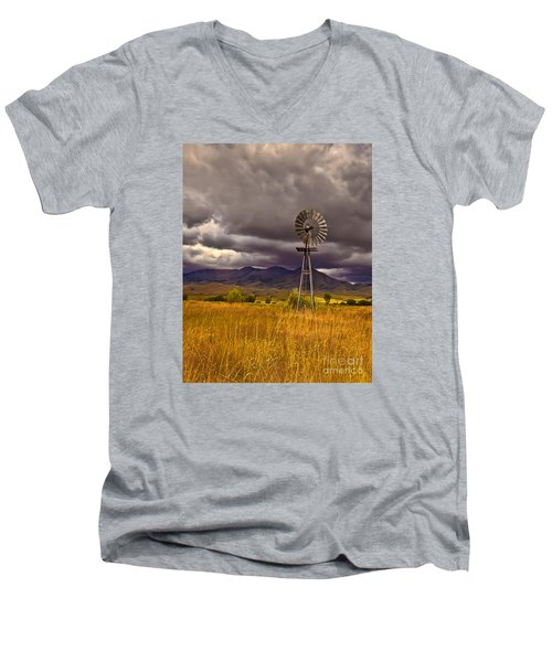 Windmill Men's V-Neck T-Shirt by Robert Bales
