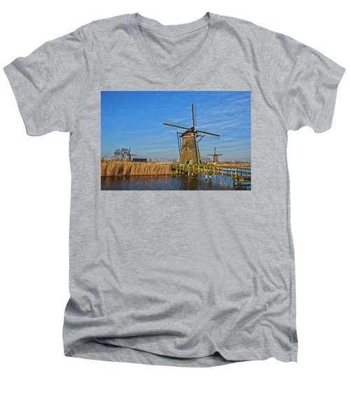 Windmills And Bridge Near Kinderdijk Men's V-Neck T-Shirt