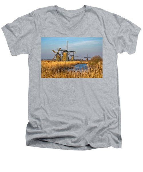 Windmills And Reeds Near Kinderdijk Men's V-Neck T-Shirt