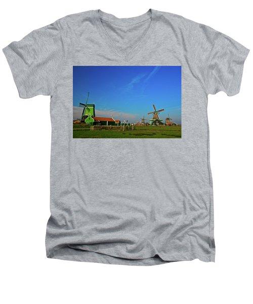 Men's V-Neck T-Shirt featuring the photograph Windmills At Zaanse Schans by Jonah  Anderson