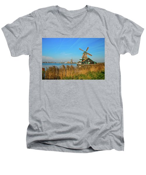 Men's V-Neck T-Shirt featuring the photograph Windmills On De Zaan by Jonah  Anderson