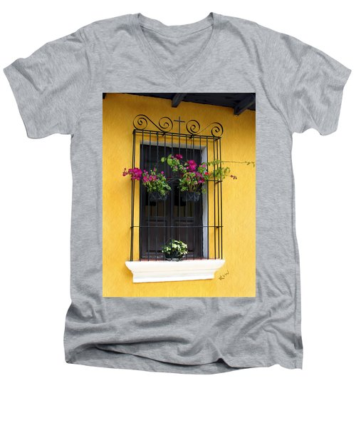 Window At Old Antigua Guatemala Men's V-Neck T-Shirt