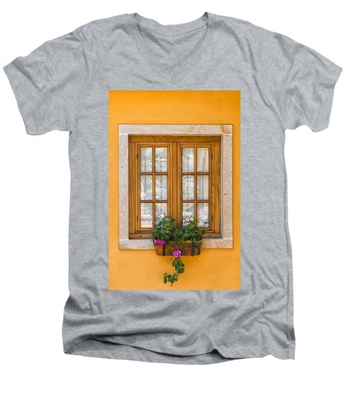 Window With Flowers Men's V-Neck T-Shirt