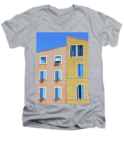Men's V-Neck T-Shirt featuring the photograph Windows Martigues Provence France by Dave Mills