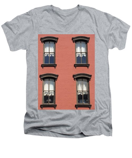 Men's V-Neck T-Shirt featuring the photograph Window's Of Hudson Ny by Ira Shander