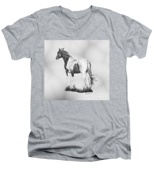 Men's V-Neck T-Shirt featuring the drawing Winds Of Change by Marianne NANA Betts