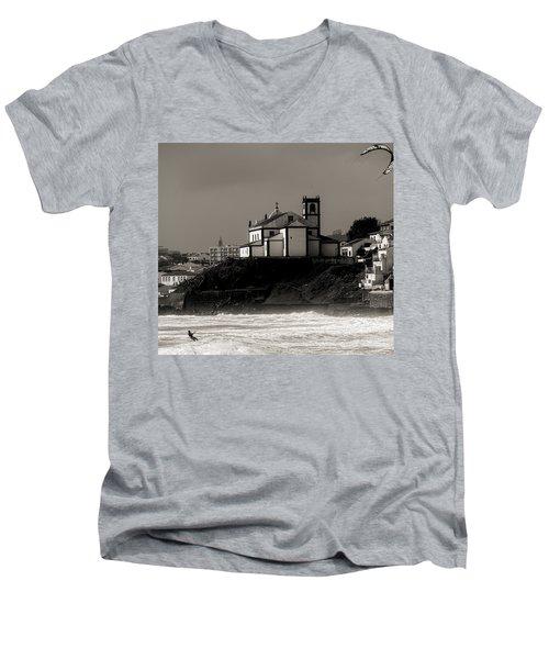 Windsurfer On Ocean In Back Of Church Men's V-Neck T-Shirt