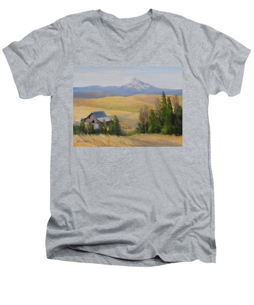 Men's V-Neck T-Shirt featuring the painting Windswept by Karen Ilari