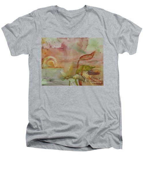 Men's V-Neck T-Shirt featuring the painting Windswept by Robin Maria Pedrero