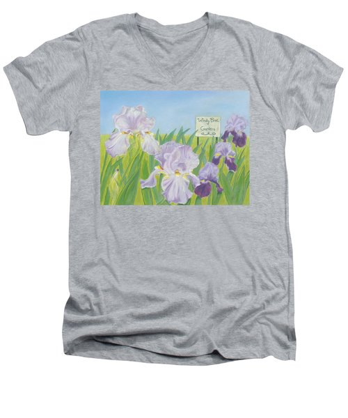 Men's V-Neck T-Shirt featuring the painting Windy Brae Gardens by Arlene Crafton