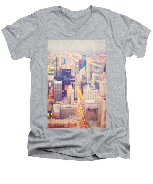 Windy City Lights - Chicago Men's V-Neck T-Shirt
