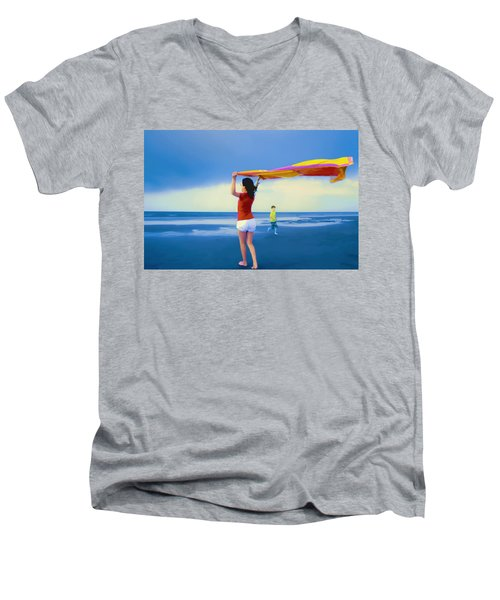 Children Playing On The Beach Men's V-Neck T-Shirt