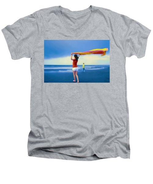 Children Playing On The Beach Men's V-Neck T-Shirt by Vizual Studio
