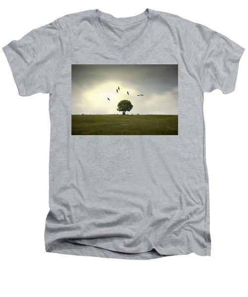 Wings Over The Tree Men's V-Neck T-Shirt by Alfio Finocchiaro