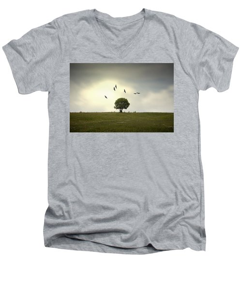 Wings Over The Tree Men's V-Neck T-Shirt