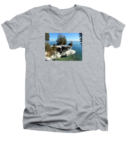 Winter At Cave Point Men's V-Neck T-Shirt by David T  Wilkinson