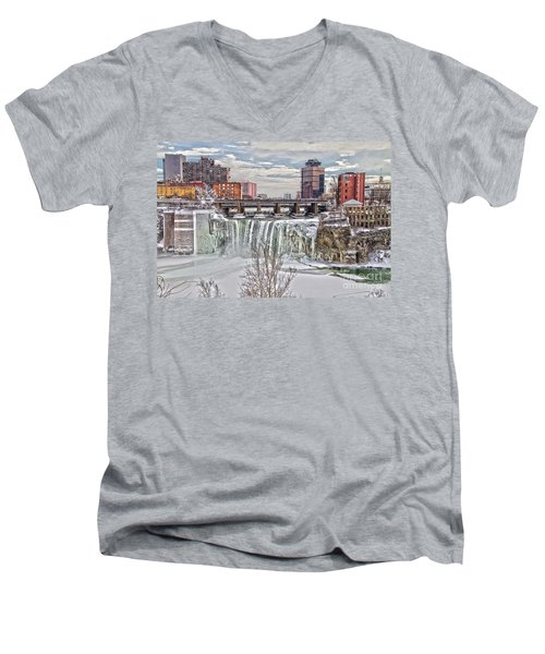 Winter At High Falls Men's V-Neck T-Shirt by William Norton