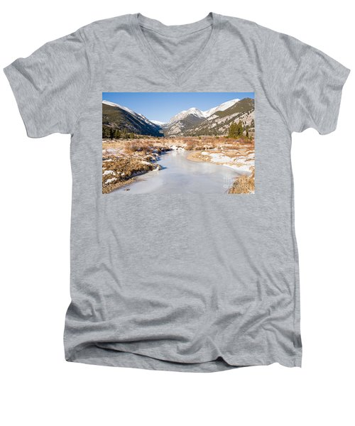Winter At Horseshoe Park In Rocky Mountain National Park Men's V-Neck T-Shirt