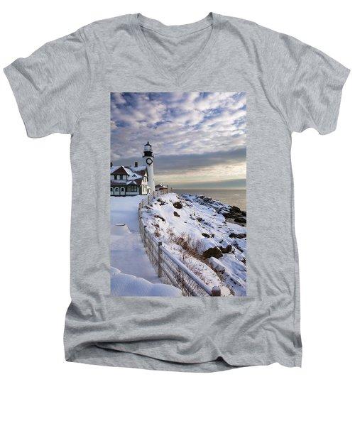 Winter At Portland Head Men's V-Neck T-Shirt