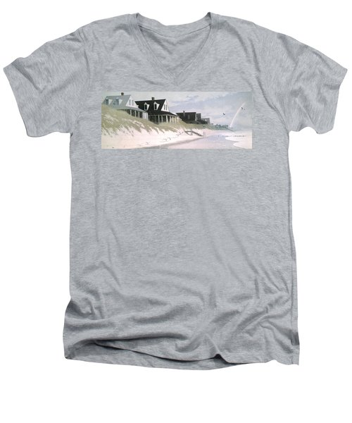 Winter Beach Men's V-Neck T-Shirt by Blue Sky