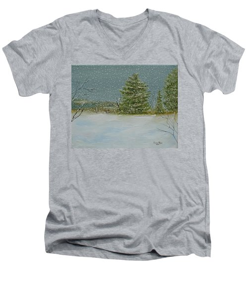 Men's V-Neck T-Shirt featuring the painting Winter Blanket by Judith Rhue