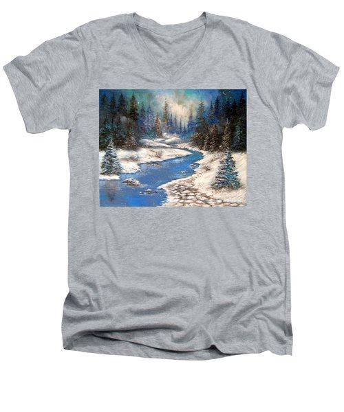 One Little Blue Men's V-Neck T-Shirt by Patrice Torrillo