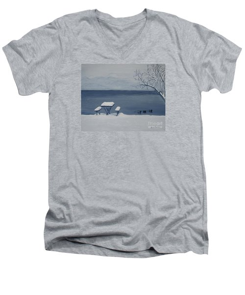 Winter By The Lake Men's V-Neck T-Shirt