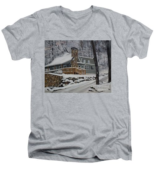Men's V-Neck T-Shirt featuring the painting Winter - Cabin - In The Woods by Jan Dappen