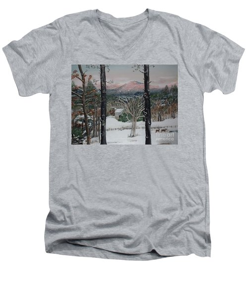 Winter - Cabin - Pink Knob Men's V-Neck T-Shirt