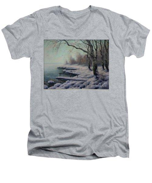 Winter Coming On The Riverside Men's V-Neck T-Shirt