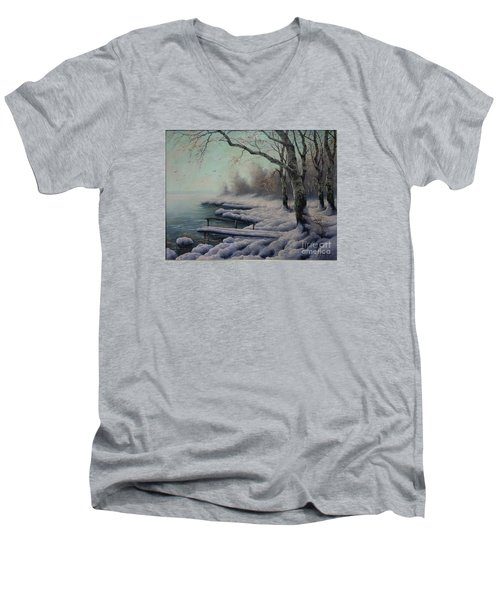 Winter Coming On The Riverside Men's V-Neck T-Shirt