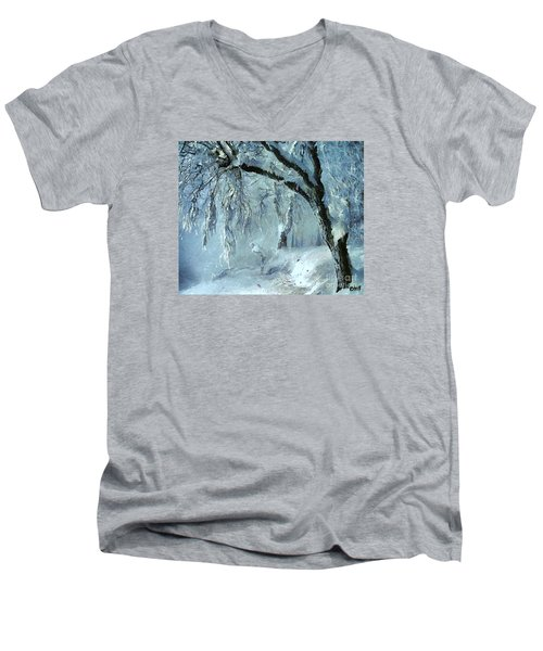 Men's V-Neck T-Shirt featuring the painting Winter Dreams by Dragica  Micki Fortuna