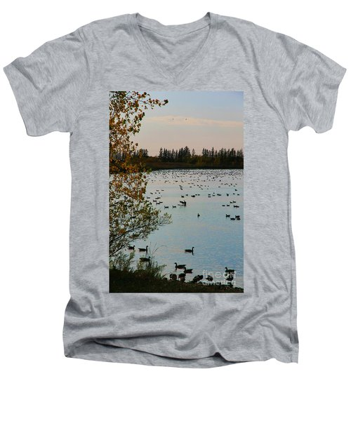 Men's V-Neck T-Shirt featuring the photograph Winter Escape Gathering by Teresa Zieba