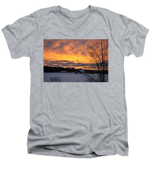 Winter Fire Men's V-Neck T-Shirt by Jim Brage