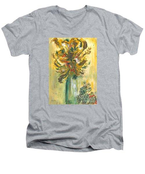Winter Flowers Men's V-Neck T-Shirt