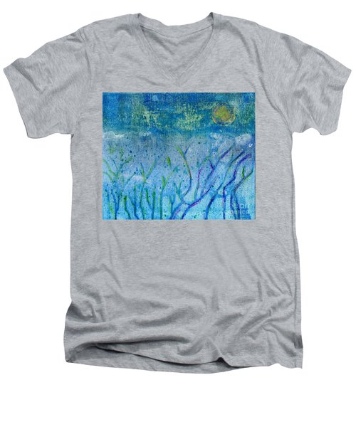 Winter Forest In Moonlight Men's V-Neck T-Shirt by Desiree Paquette