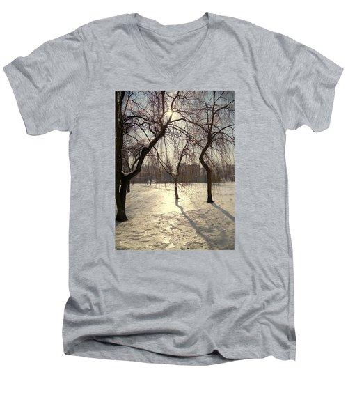 Willows In Winter Men's V-Neck T-Shirt by Henryk Gorecki