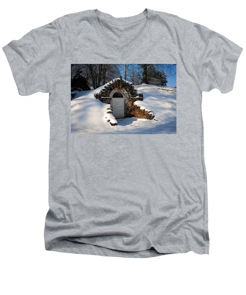 Winter Hobbit Hole Men's V-Neck T-Shirt by Michael Porchik