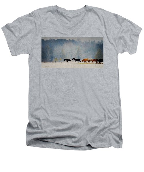 Men's V-Neck T-Shirt featuring the photograph Winter Horses by Ann Lauwers