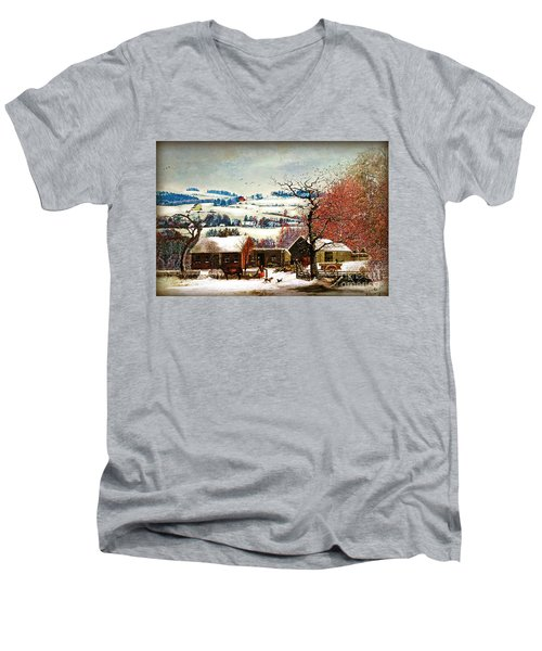 Men's V-Neck T-Shirt featuring the digital art Winter In The Country Folk Art by Lianne Schneider
