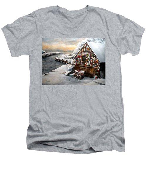 Winter Ipswich Bay Wooden Buoys  Men's V-Neck T-Shirt by Eileen Patten Oliver