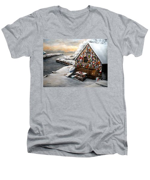 Winter Ipswich Bay Wooden Buoys  Men's V-Neck T-Shirt