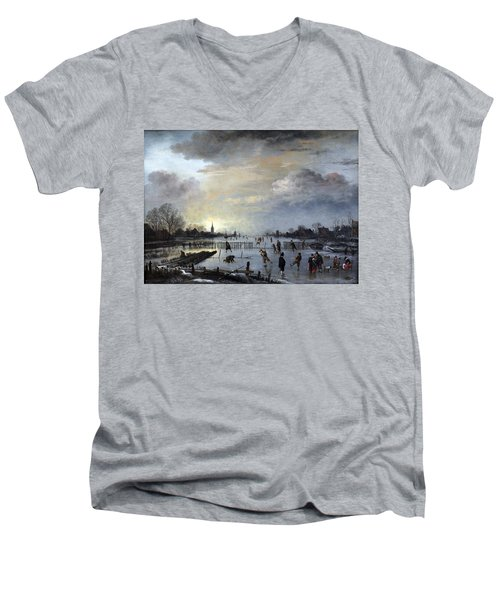 Men's V-Neck T-Shirt featuring the painting Winter Landscape With Skaters by Gianfranco Weiss