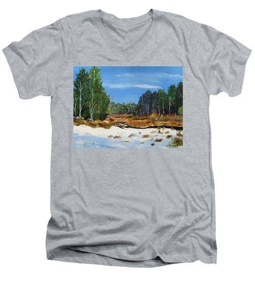 Winter Marsh In Hooksett Men's V-Neck T-Shirt