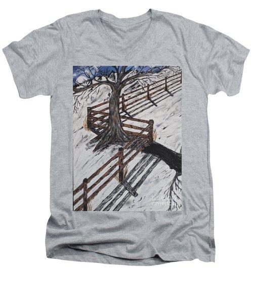 Winter Moon Shadow Men's V-Neck T-Shirt by Jeffrey Koss